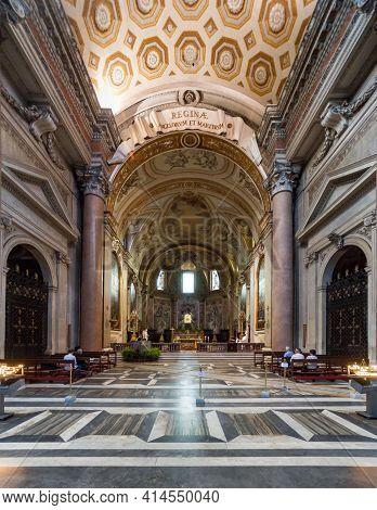 Rome - May 8, 2014: Basilica Di Santa Maria Degli Angeli E Dei Martiri Built Inside Famous Baths Of