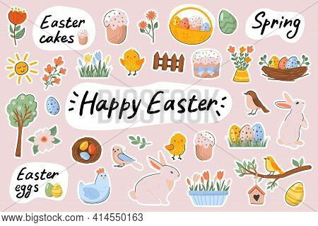 Happy Easter Cute Stickers Template Set. Bundle Of Festive Cakes, Eggs, Bunnies, Chickens, Flowers,