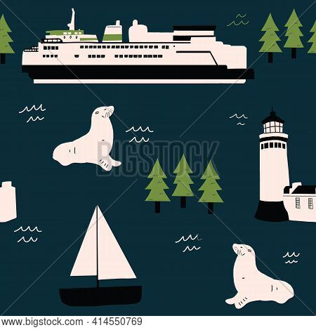 Pacific Northwest Ocean Pattern Seamless Repeat Hand Drawn Ferry Seal And Lighthouse Pattern