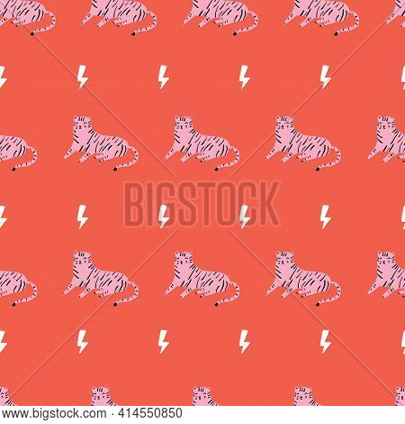 Seamless Repeat Vector Red Lightening Bolt And Pink Tiger Pattern. Wild Cat Lion.