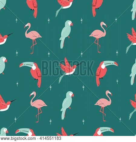 Cute Hand-drawn Seamless Tropical Animals Repeat Pattern With Parrot Sloth Flamingo Hummingbird Bana