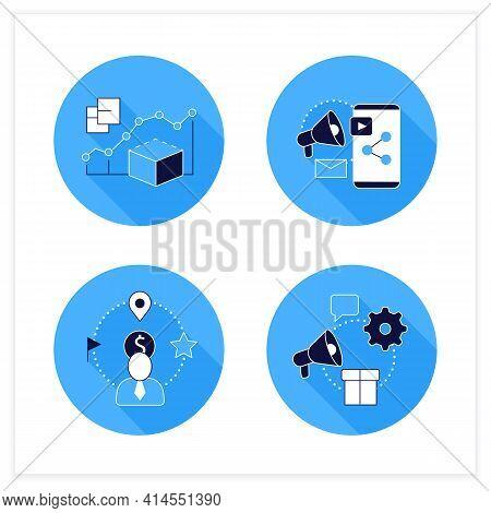 Customer Data Platform Flat Icons Set. Predictive Modeling, Content Marketing, Client Attributes, Ma