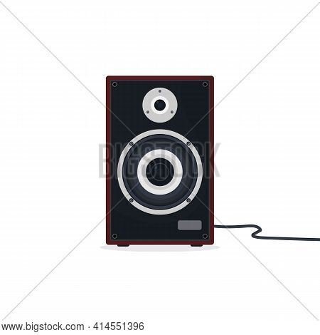 Black And Gray Loudspeaker With Red Wood Case. Hi-fi Or High-end Class Acoustic Speaker Or Audio Mon