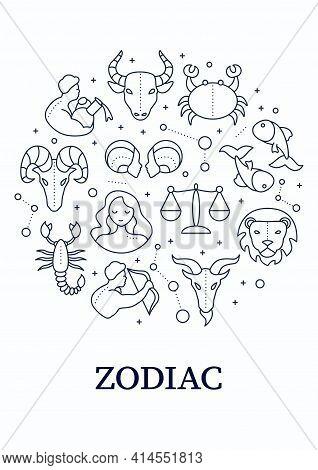 Zodiac Circle Poster. Twelfth Fire Signs In Zodiac. Birth Symbols. Mystic Horoscope Signs. Astrologi