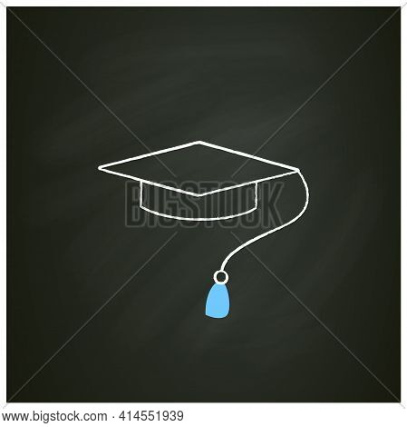 Graduation Cap Chalk Icon. Special Graduate Hat With Tassel. Holiday Costume. Graduate Uniform.gradu