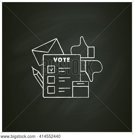 Election Chalk Icon. Voting Form, Ballot Or Checklist With Check Mark.choice, Vote Concept. Democrac