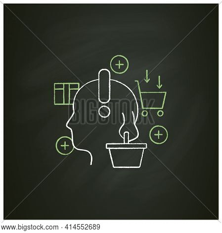 Conscious Consumer Chalk Icon. Thoughtful Shopping. Thoughtful Spending Money. Buying Necessary Thin
