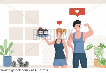 Happy Athletes Showing Muscles And Holding Plate With Protein And Creatine Vector Flat Cartoon Illus