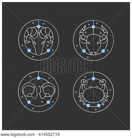 Zodiac Chalk Icons Set. Fourth Fire Signs In Zodiac. Birth Symbols.cancer, Gemini, Aries, Taurus. My