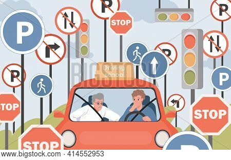 Driving School Vector Flat Illustration. Car Instructor And Student Sit In Car And Looking At The Ro