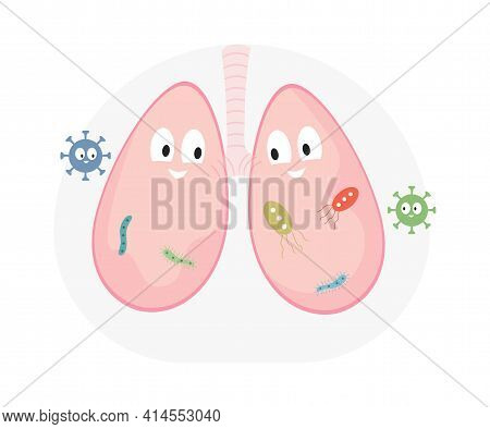 Happy Smiling Lungs With Virus Cells Vector Flat Illustration. Lungs Disease, Respiratory Infection.