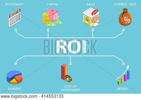 3d Isometric Flat Vector Conceptual Illustration Of Return On Investment, Roi.