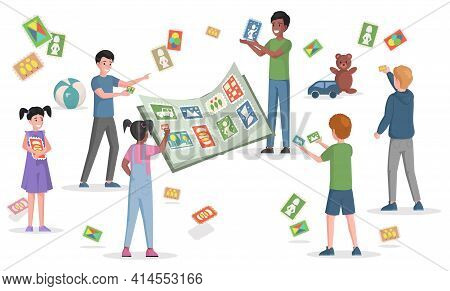 Happy Smiling Children Playing With Sticker, Glue Stickers In Book, Playing Cards Vector Flat Illust