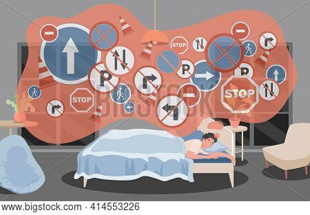Man Sleeping In Bed At Night And Dreaming About Road Signs, Traffic Rules, Driving Lessons Vector Fl