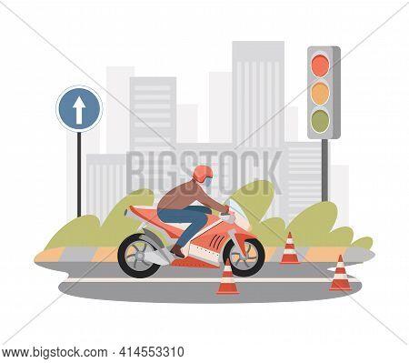 Moto School Vector Flat Illustration. Man Riding On Motorbike Between Caution Cones, Practicing Driv