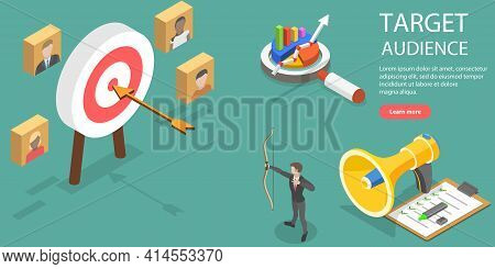 3d Isometric Flat Vector Conceptual Illustration Of Target Audience.