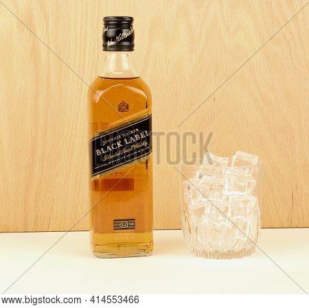 Spencer, Wisconsin, U.s.a. March, 28, 2021   Bottle Of Johnnie Walker Black Label Scotch      Johnni