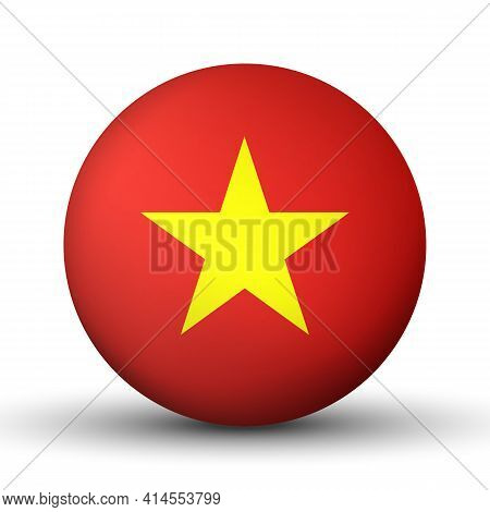 Glass Light Ball With Flag Of Vietnam. Round Sphere, Template Icon. Vietnamese National Symbol. Glos