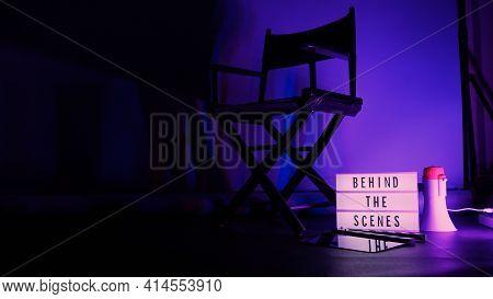 Behind The Scenes Light Box. Text On Cinema Light Box.