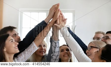 Close Up Of Overjoyed Colleagues Engaged In Teambuilding Activity