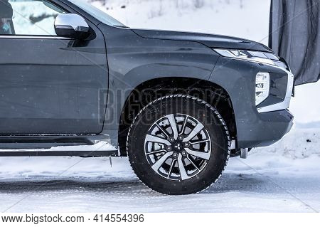 Moscow, Russia - February 17, 2021: All New Mitsubishi Pajero Sport. Details. Closeup Of   Led Headl
