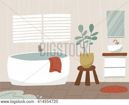 Scandinavian Bathroom Interior Besign With Bathtub, Washbasin, Mirror, Towels. Uncleaned Room With S