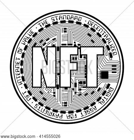Black Coin With Nft Silhouette Isolated On White Background