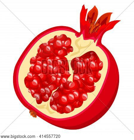 Ripe Pomegranate In A Cut. Healthy Fruits. Pomegranate Fruit With Juicy Filling Isolated On White Ba