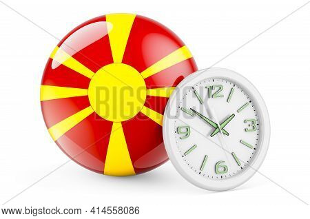 Macedonian Flag With Clock. Time In Macedonia, 3d Rendering Isolated On White Background