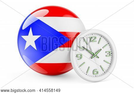Puerto Rican Flag With Clock. Time In Puerto Rico, 3d Rendering Isolated On White Background
