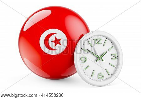 Tunisian Flag With Clock. Time In Tunisia, 3d Rendering Isolated On White Background