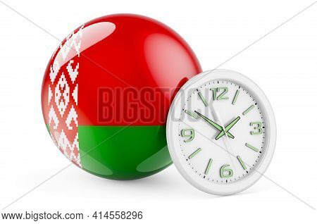 Belarusian Flag With Clock. Time In Belarus, 3d Rendering Isolated On White Background