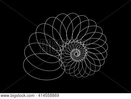 Snail Spiral Logo. Sea Shell Of White Circles. Sacred Geometry Logo Template. Logarithmic Sequences.