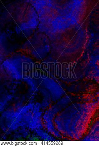 Abstract Vertical Mosaic Dark Background Of Falling, Intertwining Colored Waves Collected From Blue,