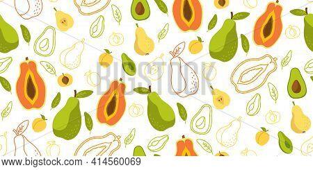 Hawaiian Fruit Papaya Seamless Pattern Wallpaper Vector