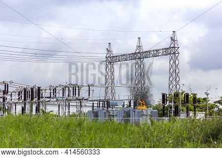 Short Circuit At The Transformer At High Voltage Substation And A Lot Of Fire Or Flames And Smoke Oc