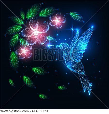 Futuristic Glowing Low Polygonal Flying Colibri Bird, Hummingbird And Pink Flowers