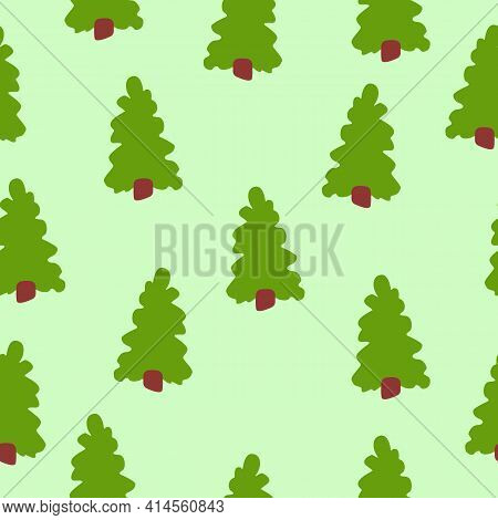 Vector Seamless Pattern With Green Fir Trees. Brown Trunk. Green Background. Cartoon Style. Spring A