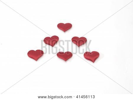Six Red Heards In White Background Valentine's Day Gift