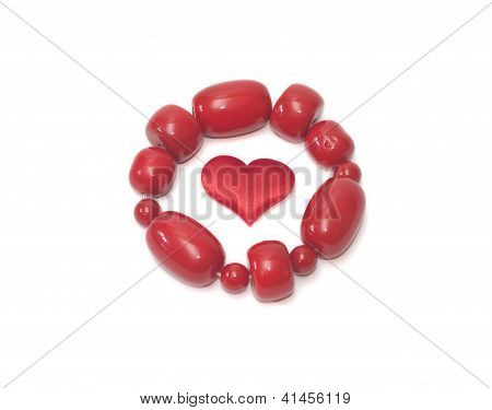 Female Red Bracelet And Red Head On White Background Valentine's Day
