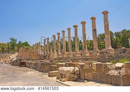 Roman Columns Amongst The Ruins In Beit She'an National Park In Israel