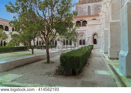 Alcobasa, Portugal- November 17 2014: The Cloister Of Catholic Monastery Of Alcobasa, Portugal