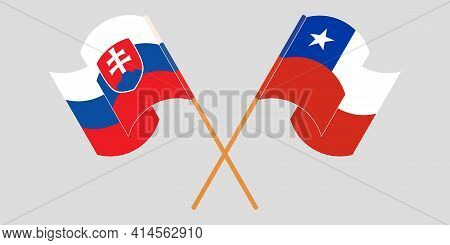 Crossed And Waving Flags Of Chile And Slovakia