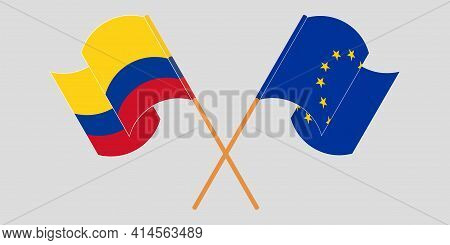 Crossed And Waving Flags Of Colombia And The Eu