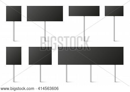 Black Blank Board With Place For Text, Protest Signs Set Isolated On White Background. Realistic Dem
