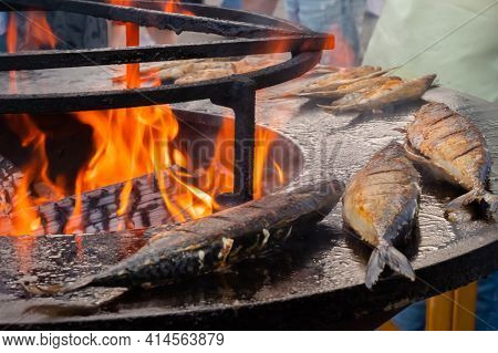Process Of Grilling Mackerel Fish On Black Brazier With Hot Flame At Summer Food Market: Close Up. S