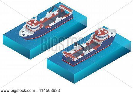 Isometric Fishing Trawler. Sea Or Ocean Transportation, Marine Ship For Industrial Seafood Productio