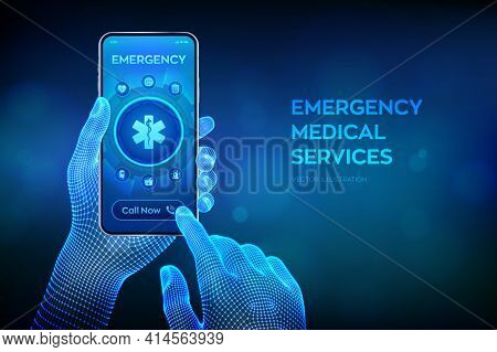 Emergency Medical Services Concept On Virtual Screen. Emergency Call. Online Medical Support. Medici