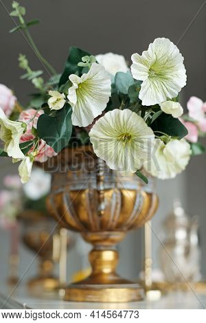 Wedding Decorations With Flowers. Beautiful Flower Composition In Classic Interior. Decoration Of A