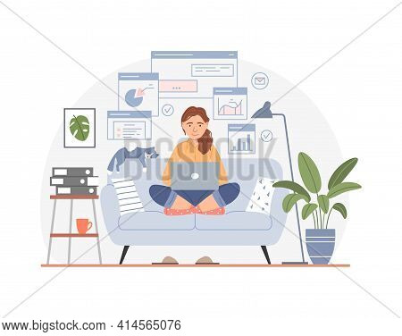 Working At Home Office Concept. Freelancer Workplace. Young Middle Aged Woman With Laptop. People Us